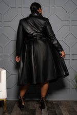"Plus Size ""Jooney"" Vegan Leather Skirt Set - Black"