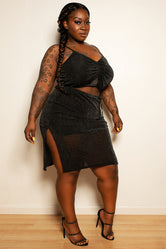 "Plus Size ""Innocence"" Peek A Boo Bust Knee Length Shimmer Dress - Black"