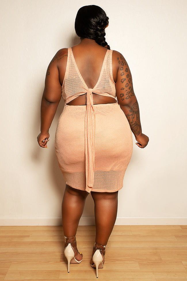 "Plus Size ""I Need a Boo"" Peek A Boo Back Knee Length Shimmer Dress - Peach - Boutique115"