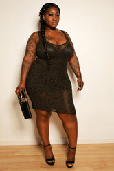 "Plus Size ""I Need a Boo"" Peek A Boo Back Knee Length Shimmer Dress - Black Gold"