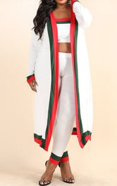 "Plus Size ""MiGucci"" 3 Piece Set Tube Top Leggings Duster Designer Inspired Stripe - White Red Green"