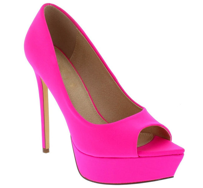 """Icee"" Peep Toe Platform Stiletto - Hot Pink"