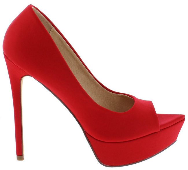 """Icee"" Peep Toe Platform Stiletto - Red"