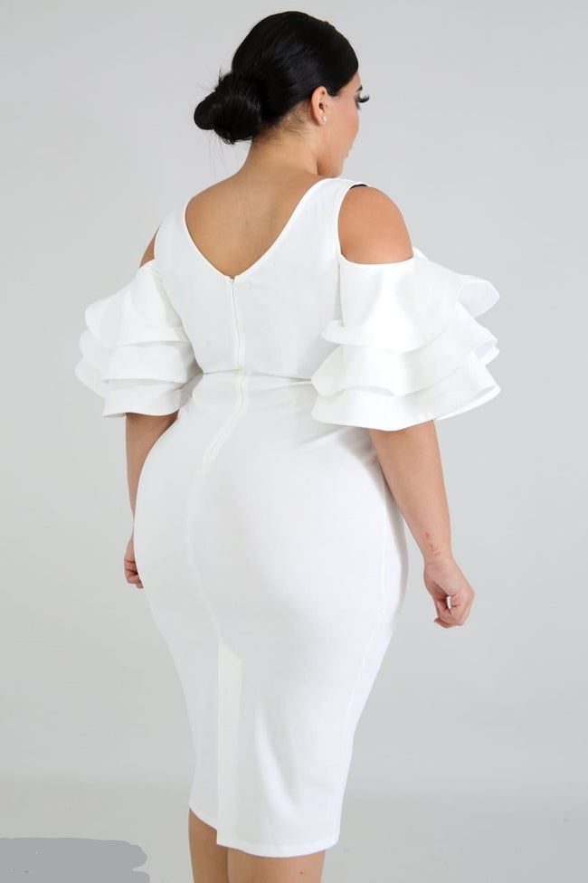"Plus Size ""Ring My Belle"" Cold Shoulder Bell Sleeve Dress - Ivory"