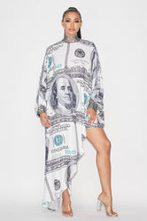 "Plus Size ""Carmen"" Money Chiffon Top - Dollar Bill"