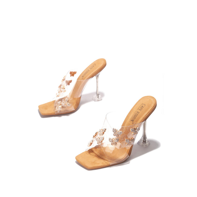 "Cape Robbin ""Mile High"" Butterfly Lucite Heel Sandal - Clear"