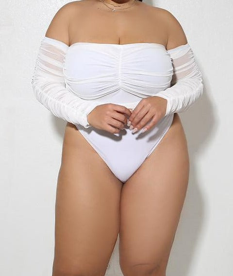 "Plus Size ""Dope Connection"" Ruched Ruched Bodysuit - White"
