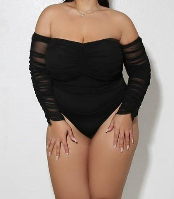 "Plus Size ""Dope Connection"" Ruched Ruched Bodysuit - Black"