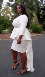 "Plus Size ""Chelsee"" Peplum Dress Ruffle Tail - White"