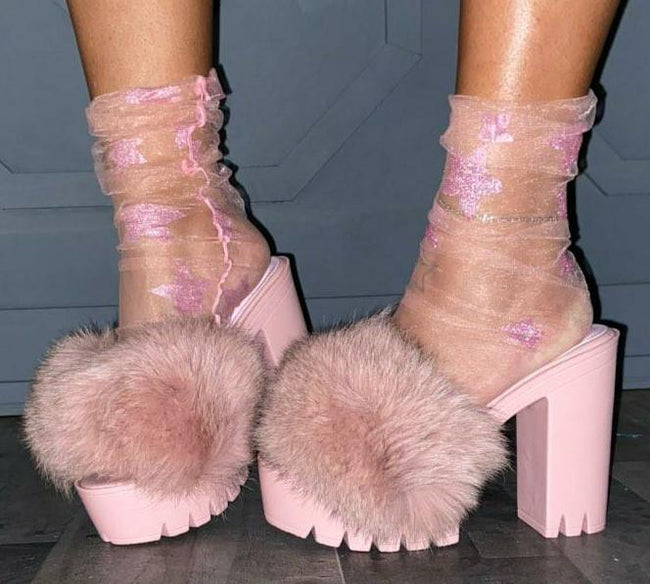 """Chardonnay"" Fur Block Heel Shoe- Blush Mauve"