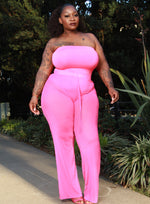 "Plus Size ""Speechless"" Mesh Sheer High Waist Wide Leg Pant -  Barbie Pink"
