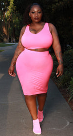 "Plus Size ""Piece Me Baby"" Skirt Set - Pink"