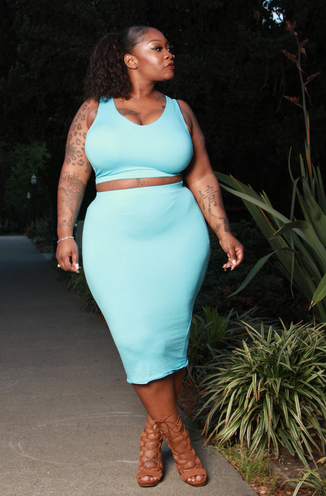 "Plus Size ""Piece Me Baby"" Skirt Set - Ocean Blue"