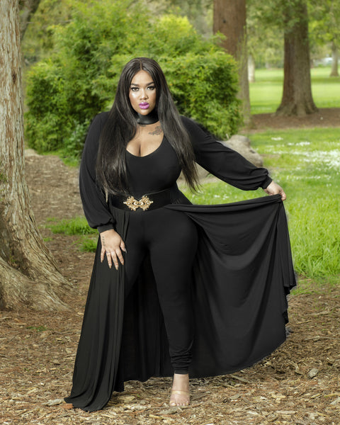 "Plus Size ""Windsor"" Long Sleeve Maxi Dress Cape Jumpsuit - Black"