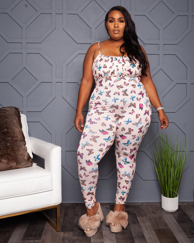 """Come Fly With Me"" Butterfly Jumpsuit - Pink Multi"