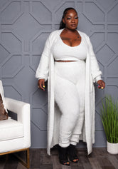 "Plus Size ""Angel Dust"" Duster Sweater Set - White"