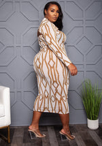 "Plus Size ""Cuban Links"" Mesh Dress Set - White"