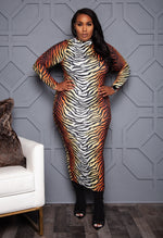 "Plus Size ""9 Lives"" Tiger Print Midi Dress"