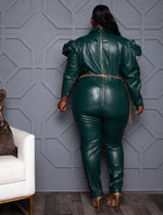 "Plus Size ""Don't Come For Me"" Vegan Leather Jumpsuit - Hunter Green"