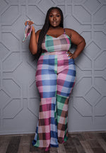 "Plus Size ""Glory Days"" Plaid Bell Bottom Jumpsuit - Multi Burgundy Green"