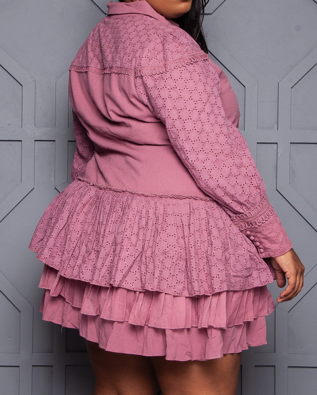 "Plus Size ""Carmin"" Ruffle Oversize A Line Dress - Mauve"