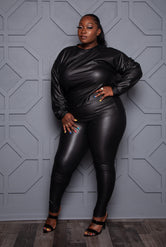 "Plus Size ""Blackness"" Vegan Leather Pant Set - Black"