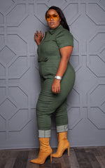 "Plus Size ""Super Hero"" Cargo Denim Jumpsuit - Olive Green"