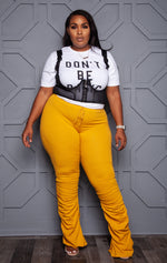"Plus Size ""Street Life"" Stacked Joggers - Mustard"