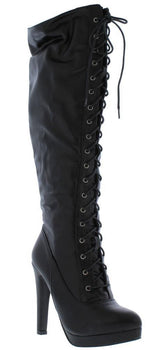 Knee High Lace Up Boot - Black - Boutique115