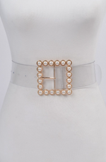 Plus Size Clear Pearl Buckle Belt