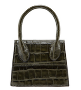 Mini Croc Satchel - Olive