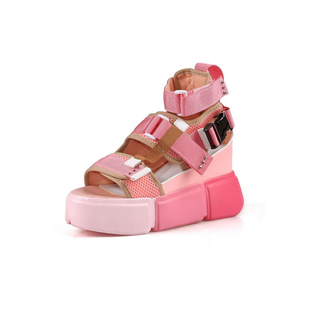 "Anthony Wang ""Cranberry 07"" Platform Sandal Shoe- Pink Beige"