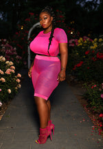 "Plus Size ""Ms Jackson"" Fishnet 2 Piece Cropped Set - Fuchsia"