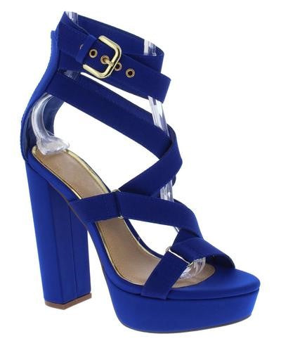 "Strappy ""Straight Jacket"" Block Heel Platform Shoes -  Royal Blue"
