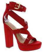 "Strappy ""Straight Jacket"" Block Heel Platform Shoes - Red"