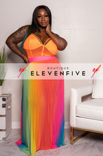 "Plus Size ""The Colors of The Rainbow"" Pleated Sheer Skirt - Multi"