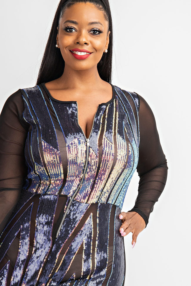 "Plus Size ""She Rules The Universe "" Sequin Jumpsuit - Purple Black"