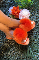 "Cape Robbin "" POM POMS"" Square Toe Fuzzy Ball Sandal-Burnt Orange"