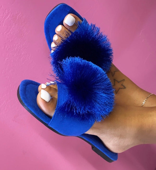"Cape Robbin "" POM POMS"" Square Toe Fuzzy Ball Sandal-Blue"
