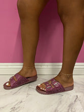 "Plus Size ""Billion Dollar"" Rhinestone Birkies - Pink"