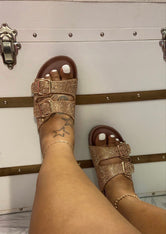 "Plus Size ""Billion Dollar"" Rhinestone Birkies - Rose Gold"