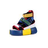 "Anthony Wang ""Cranberry 07"" Platform Sandal - Blue/Yellow/Multi"
