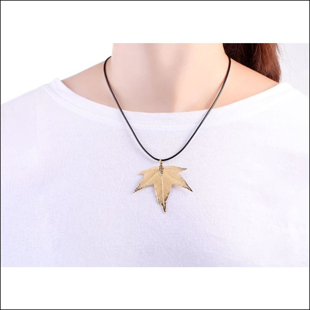 pink en collections jewelry necklace pendant maple flamingo golden leaf rose gold