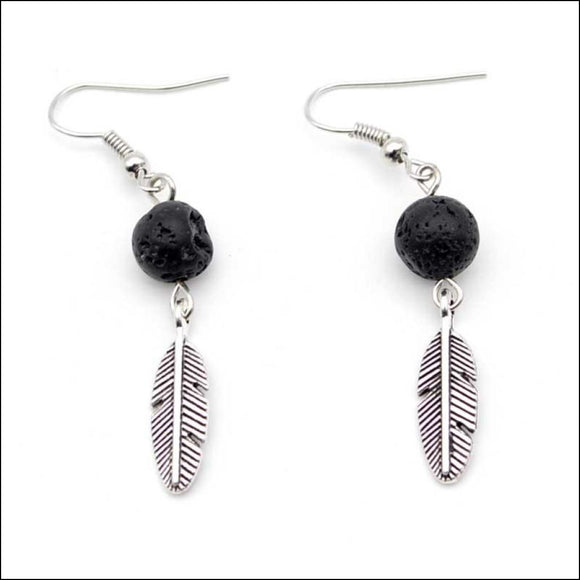 Bohemian Silver-Plated Feather Essential Oil Diffuser Earrings - Adelene Green