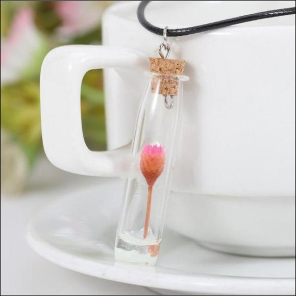 Dried Flower Cylinder Wishing Bottle Necklace - Adelene Green