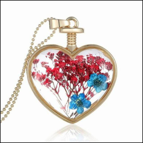 Fundraiser- Glass Heart Wishing Bottle Necklace with Real Flowers- 5 Style Options - Adelene Green