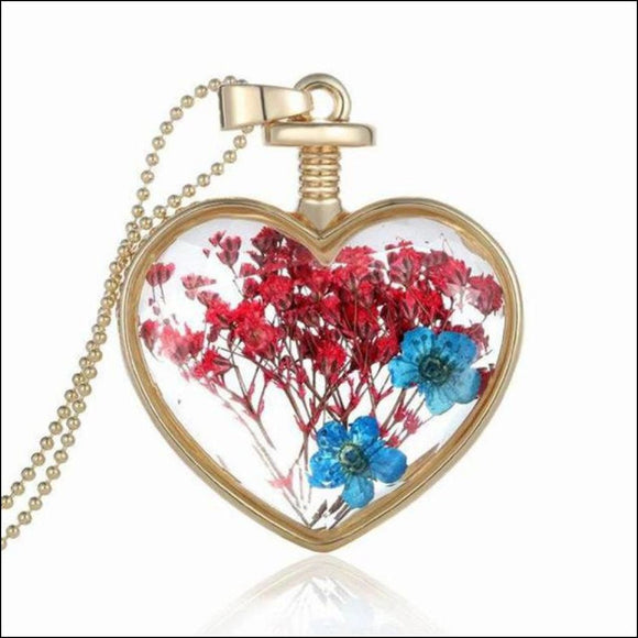 Glass Heart Wishing Bottle Necklace with Real Flowers- 5 Style Options - Adelene Green