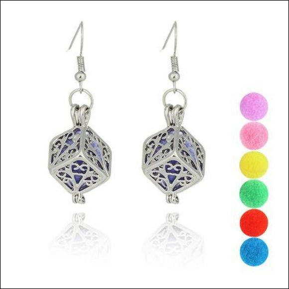 Hollow Cube Filigree Drop Earrings-Aromatherapy Diffusers - Adelene Green