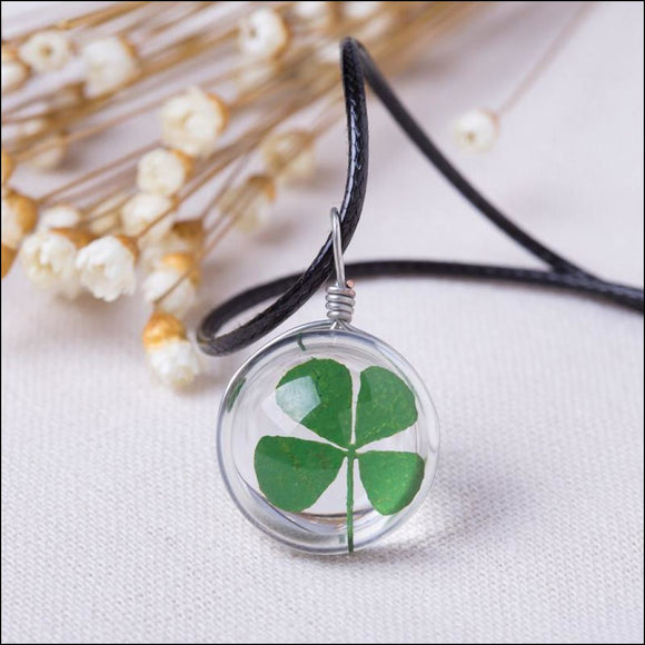 Lucky! Real 4 Leaf Clover Pendant on a Leather Necklace - Adelene Green