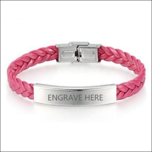 Pink Leather Braided Bracelet with Custom Engraving on Stainless Steel - Adelene Green